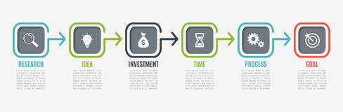 Business infographics with icons. Timeline with 6 steps, square. Vector infographic element. Can be used for web. Diagram, graph, presentation, chart, report Royalty Free Stock Photography
