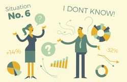 Business infographics with illustrations of business situations. Man and woman discussing work issues. Colleagues solve the proble. M. Meeting, negotiations in Royalty Free Stock Images