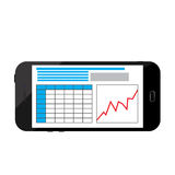 Business infographics image on a black smartphone screen. Business infographics image on a black smartphone Royalty Free Stock Photo