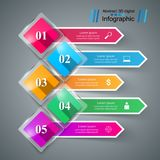 Abstract glass 3D digital illustration Infographic. Five items. Business Infographics origami style Vector illustration. Vector eps 10 royalty free illustration
