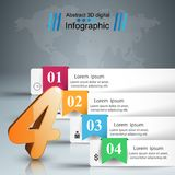 Four 3D digital illustration Infographic. Business Infographics origami style Vector illustration.Four icon Stock Photo