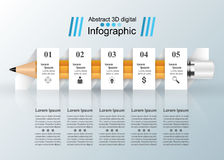Business Infographics origami style Vector illustration. Pencil Royalty Free Stock Photography