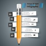 Business Infographics. Pencil icon. 3D infographic design template and marketing icons. Pencil icon Royalty Free Stock Photos