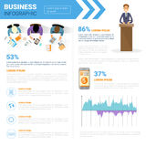 Business Infographics Set With Copy Space For Presentation Meeting Negotiation Concept. Flat Vector Illustration Royalty Free Stock Images