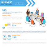 Business Infographics Set With Copy Space For Presentation Meeting Negotiation Concept. Flat Vector Illustration Stock Photography
