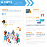Business Infographics Set With Copy Space For Presentation Meeting Negotiation Concept. Flat Vector Illustration Royalty Free Stock Photos
