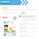 Business Infographics Set Copy Space For Presentation Paperwork. With Contract Document Concept Flat Vector Illustration Stock Photos