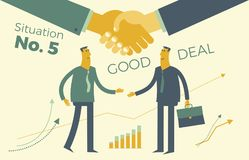 Business infographics, business situations. Conclusion of contract, deal. Partnerships, meeting of two businessmen, shake hands, u Royalty Free Stock Photography