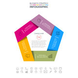 Business Infographics strategy design elements. Pentagon Business Infographics strategy design elements template illustration. Vector eps10 Royalty Free Stock Photography