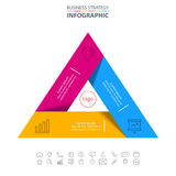 Business Infographics strategy design elements. Triangle Business Infographics strategy design elements template illustration. Vector eps10 Royalty Free Stock Photos