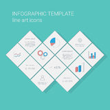Business infographics template with line icons for graphs and pie chart. Project management presentation. Eps10 vector illustration Royalty Free Stock Photography