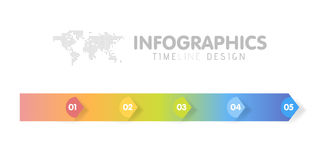 Business infographics template. Timeline with 5 arrow steps, five number options. Vector Royalty Free Stock Photo