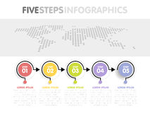 Business infographics template. Timeline with 5 circle arrow steps, five number options. World Map in background. Vector element Stock Image