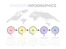 Business infographics template. Timeline with 5 circle arrow steps, five number options. World Map in background. Vector element.  vector illustration