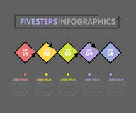 Business infographics template. Timeline with 5 rhombus, steps, five number options. Vector Royalty Free Stock Photo