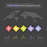 Business infographics template. Timeline with 5 rhombus steps, five number options. World Map in background. Vector element Stock Image