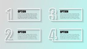 Business infographics. Timeline with 4 boxs, steps, number options. Vector infographic element Illustrator. royalty free illustration