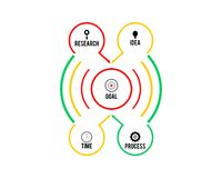 Business infographics, Timeline with 5 steps, circles, rings. Vector linear infographic element. 5 steps infographic royalty free illustration
