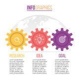 Business infographics. Timeline with 3 steps, gears, cogwheels. Stock Image