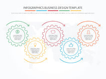 Business infographics. Timeline with 5 steps, gears, cogwheels. Royalty Free Stock Photos
