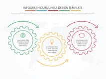 Business infographics. Timeline with 3 steps, gears, cogwheels. Royalty Free Stock Photography