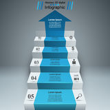 Business infographics up the ladder to success. 3D grey infographics and business ladder on the dark background Vector Illustration