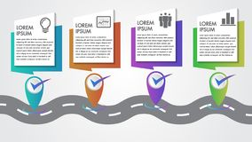 Business Infographics Vector Company Milestones Timeline 4 steps template copy-space with pointers on a curved road line journey. vector illustration