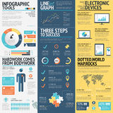 Business infographics vector elements in 3 flat business colors Stock Photography