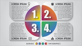 Business infographics vector illustration 4 options design concept multicolor with icon. Template for brochure, business. Business infographics vector stock illustration