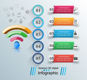 Business infographics. Wi-fi icon. 3d wi-fi icon on the grey background. Abstract infographic stock illustration