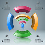 Business infographics. Wi-fi icon. 3d wi-fi icon on the grey background. Abstract infographic vector illustration