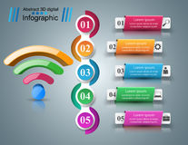 Business infographics. Wi-fi icon. 3d wi-fi icon on the grey background. Abstract infographic royalty free illustration