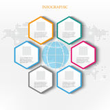 Business infographics.World map,globe and hexagons Royalty Free Stock Image