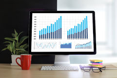 Business Information Technology people work hard Data Analytics. Statistics Stock Photography