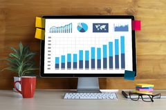 Business Information Technology people work hard Data Analytics. Statistics Royalty Free Stock Image