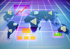 Business Infrastructure. Map illustration displaying business infrastructure monitoring worldwide Stock Photo
