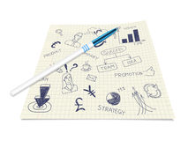 Business ink doodles on paper with pen Royalty Free Stock Images
