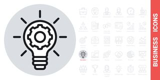 Free Business Innovation Concept Icon. Light Bulb With A Gear Inside. Simple Black And White Version Royalty Free Stock Photos - 217203998