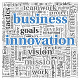 Business innovation concept in tag cloud Stock Photos