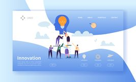 Business Innovation Landing Page Template. Creative Idea Website Layout with Flat People Characters and Light Bulb