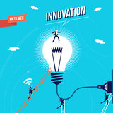 Business innovation marketing concept illustration. New ideas for business, businessman team using light bulb for marketing success. EPS10 vector Royalty Free Stock Photos