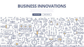 Business Innovations Doodle Concept. Doodle  illustration of implementing new ideas, making better services or products, creating new value for customers Royalty Free Stock Images
