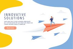 Business innovative solutions website design. Business research, modern vector web banner. Idea, goal or success. Business innovative solutions website design stock illustration