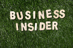 Business Insider Wooden Sign On Grass Stock Photography