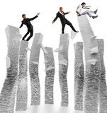 Business instability. Business men of unstable piles of paper Royalty Free Stock Images