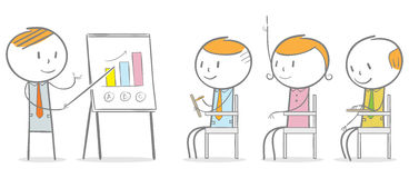 Business instruction. Doodle stick figure: Businessman giving an instruction to employee Royalty Free Stock Images
