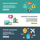 Business insurance, banking services and safety vector banners set. Insurance banners, illustration of protection and insurance service concept Royalty Free Stock Photo