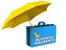Business insurance. Concept, business bag under a yellow umbrella over white background Royalty Free Stock Image