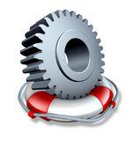Business Insurance. Concept and company owner protection as a gear or cog wheel in a lifesaver or life belt as a lifeline symbol of financial risk  and security Stock Photography