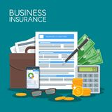 Business insurance concept vector illustration. Sign contract agreement to protect business from risks. Poster in flat style design Stock Photo